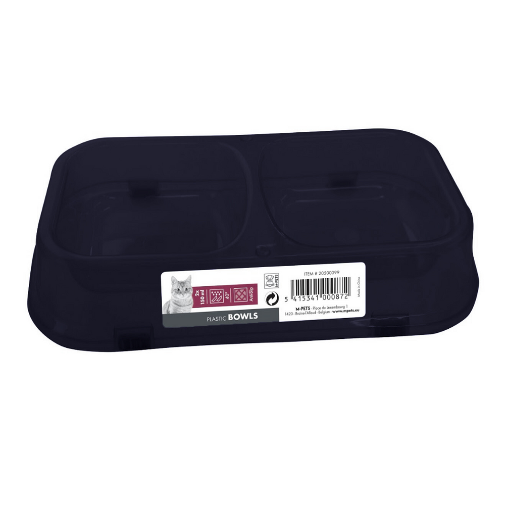 M-Pets Cat Bowl - Double (2x150ml) - Navy Blue