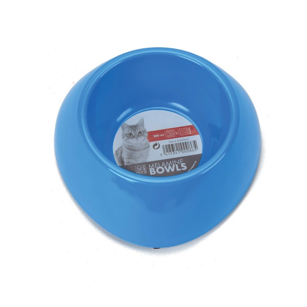 M-Pets Cat Bowl - Single (Melamine Bowl - 200ml) - Blue