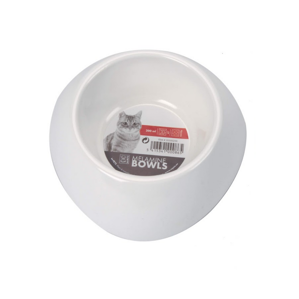 M-Pets Cat Bowl - Single (Melamine Bowl - 200ml) - White