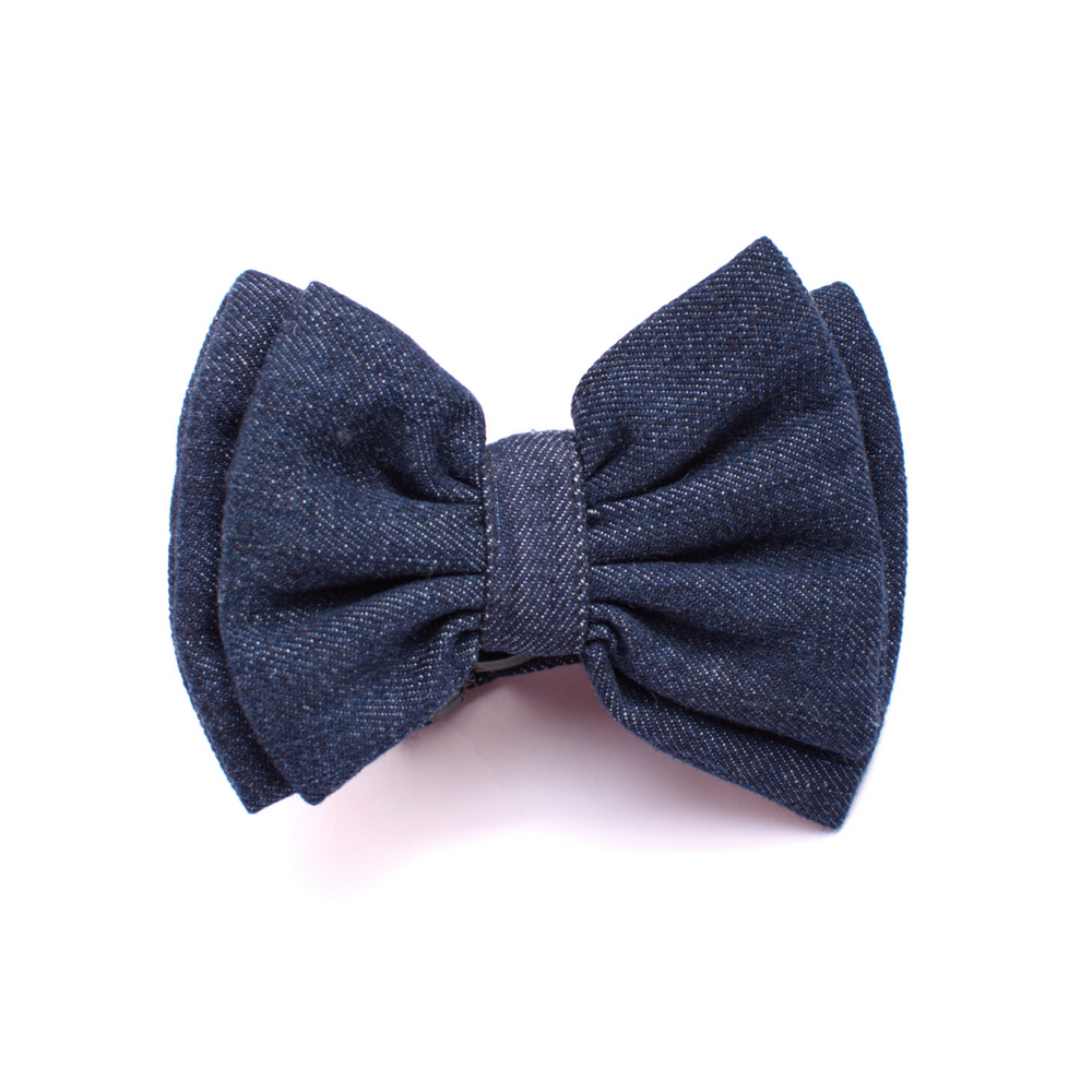 Mutt Of Course Cat Bow - Dark Denim