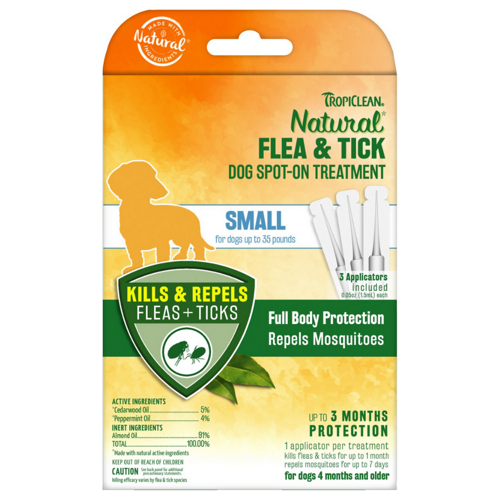 Tropiclean Flea &Tick Dog Spot-On Treatment - Small (pack of 3)