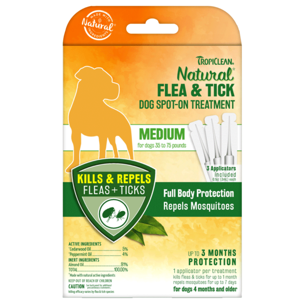 Tropiclean Flea &Tick Dog Spot-On Treatment - Medium (pack of 3)