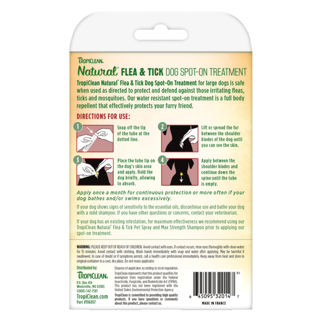 Tropiclean Flea &Tick Dog Spot-On Treatment - Large (pack of 3)