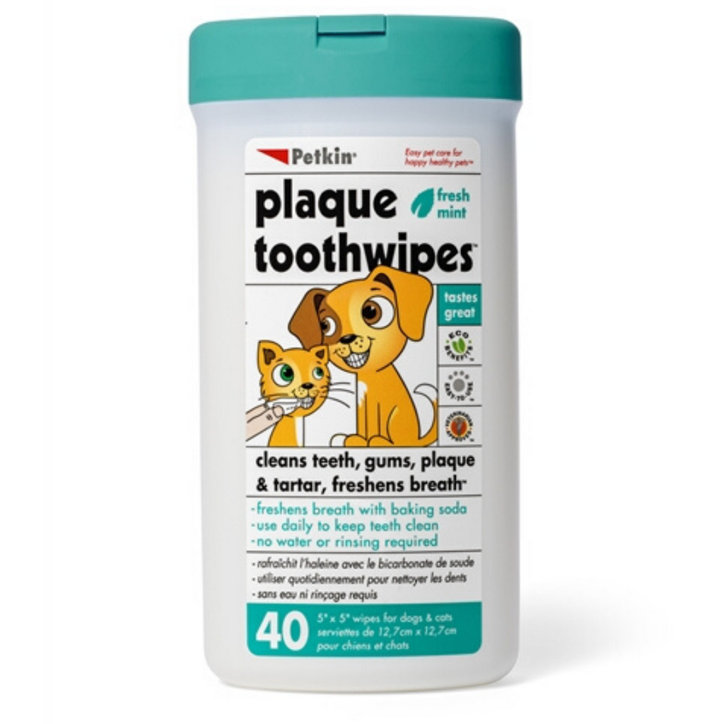 Petkin - Dog & Cat Plaque Toothwipes for Cats & Dogs - 40 counts