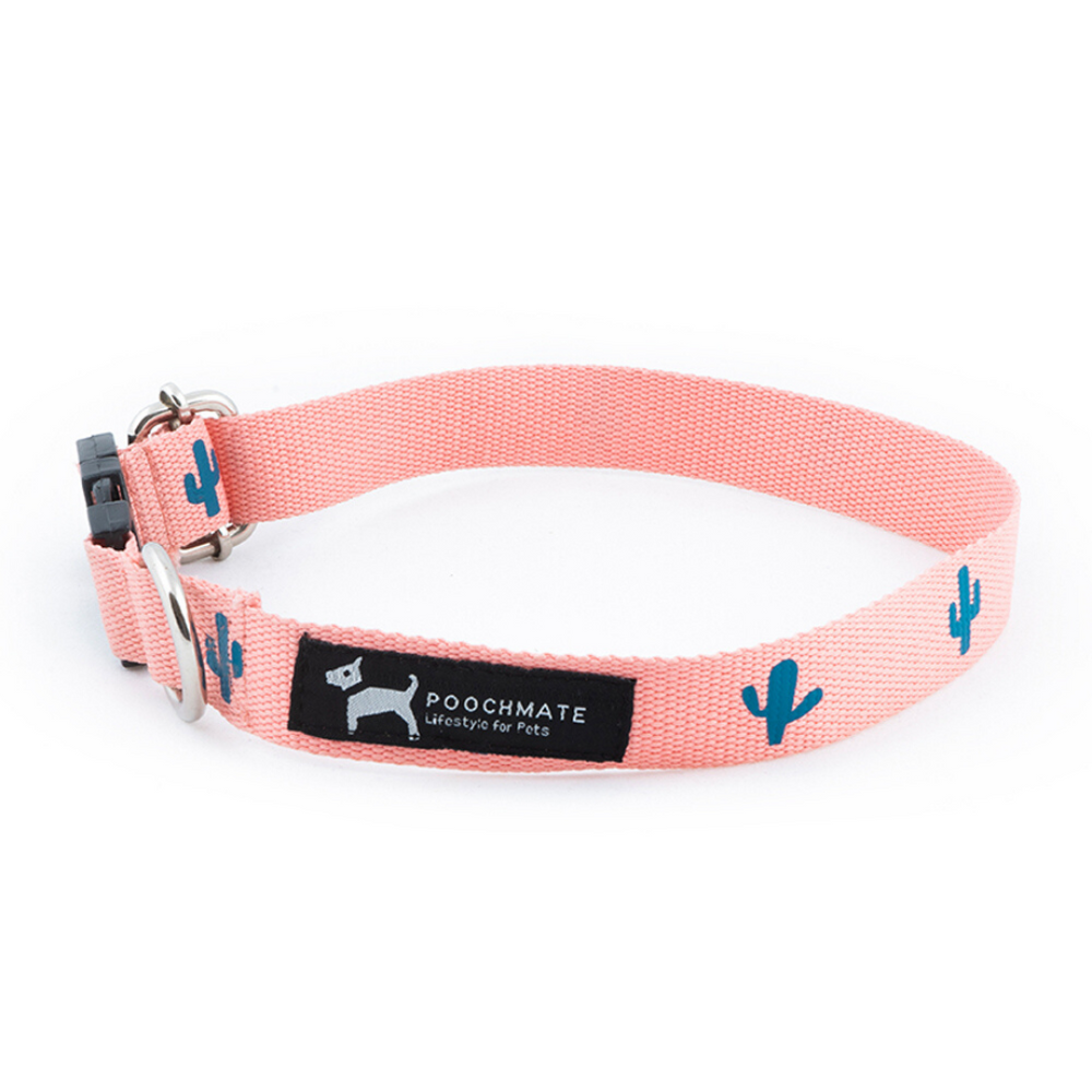 PoochMate Collar - Yarn Dyed Cotton - Peach Cactus