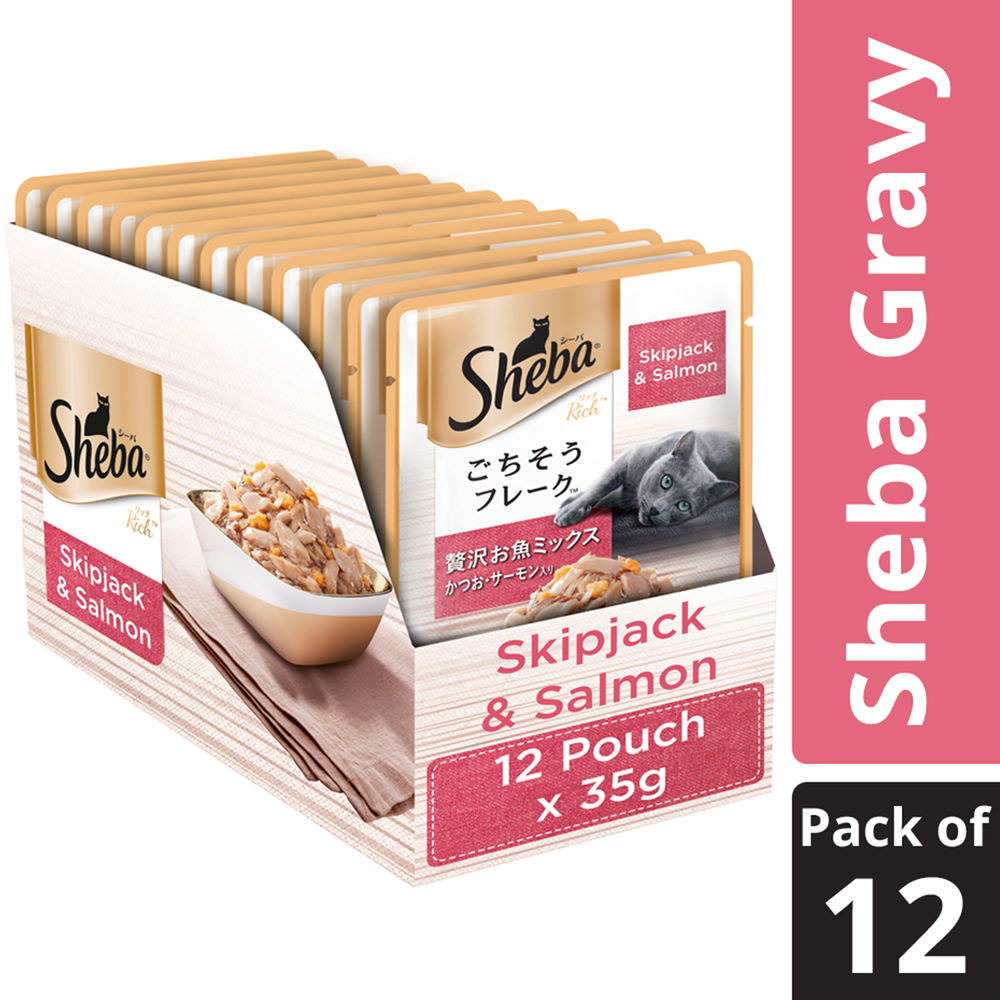 Sheba Wet Cat Food - Skipjack & Salmon (35g x 12 Pouches)