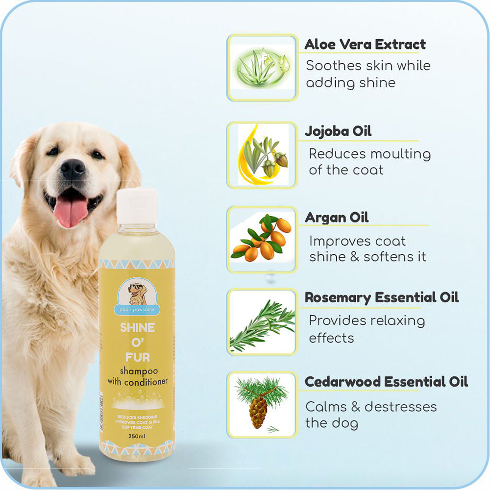 Papa Pawsome Shine O Fur Shampoo with Conditioner - 250ml