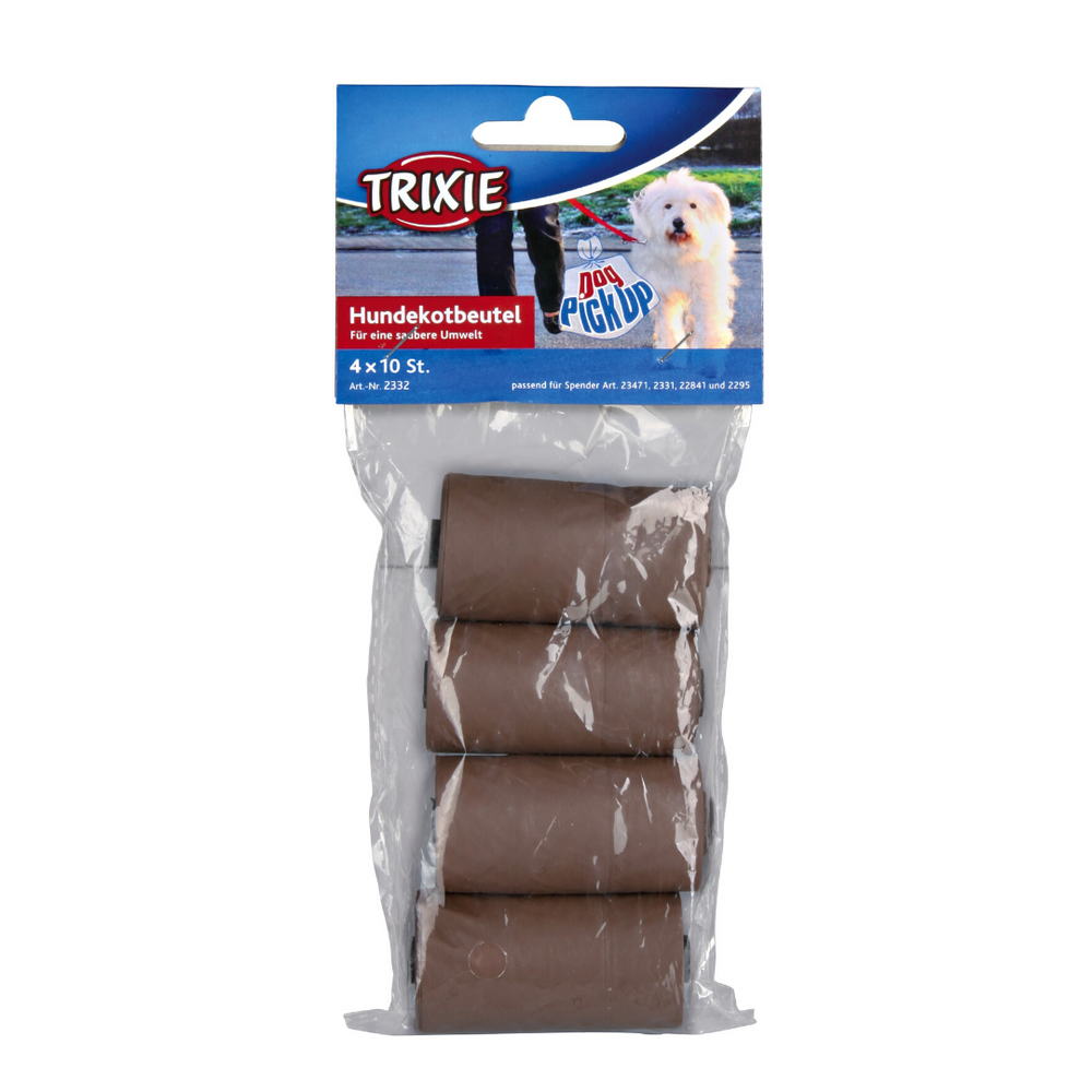 Trixie Dog Dirt/Poop Bags Biodegradable Brown, 4 rolls of 10pcs