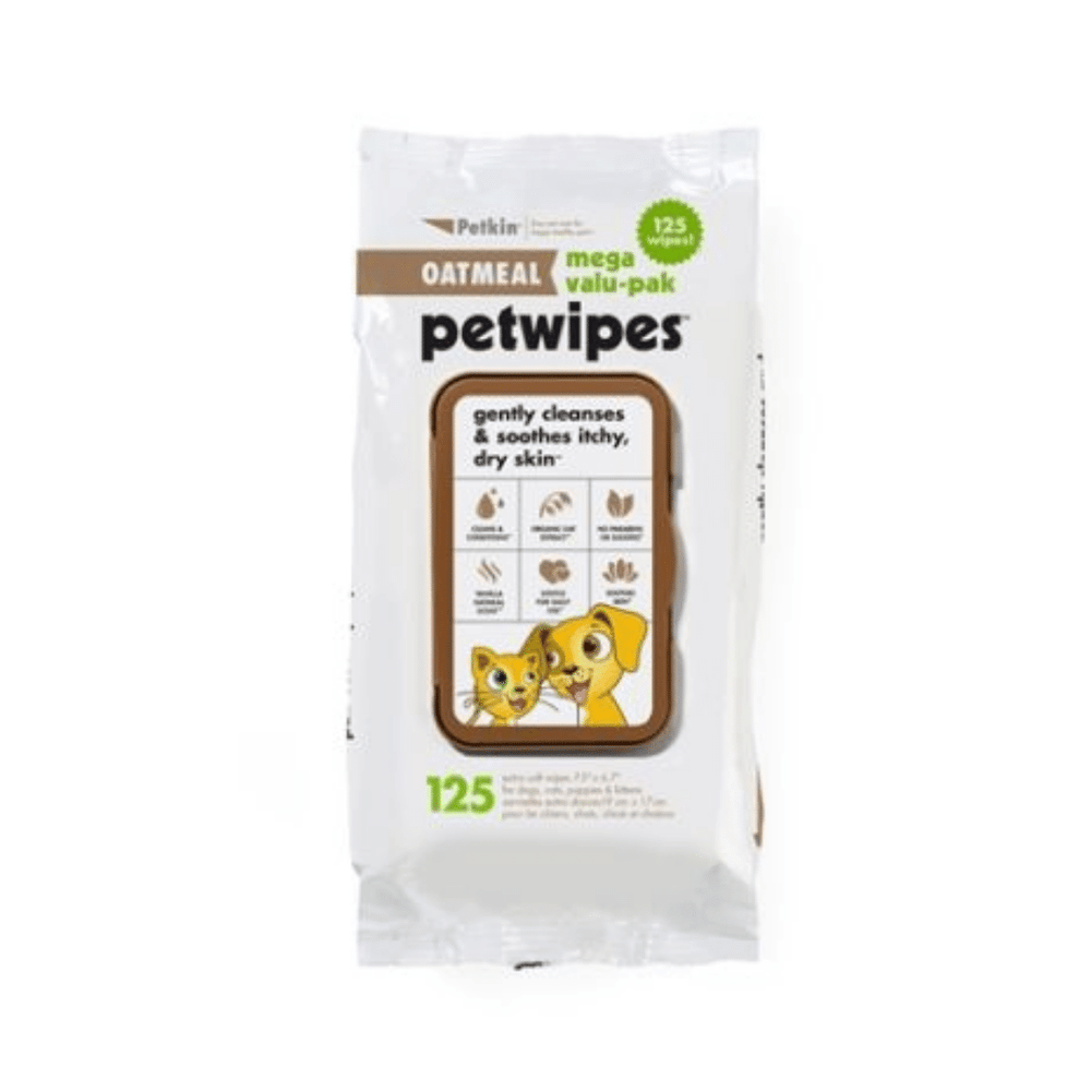 Petkin Oatmeal Pet Wipes Value Pack - 125 Wipes
