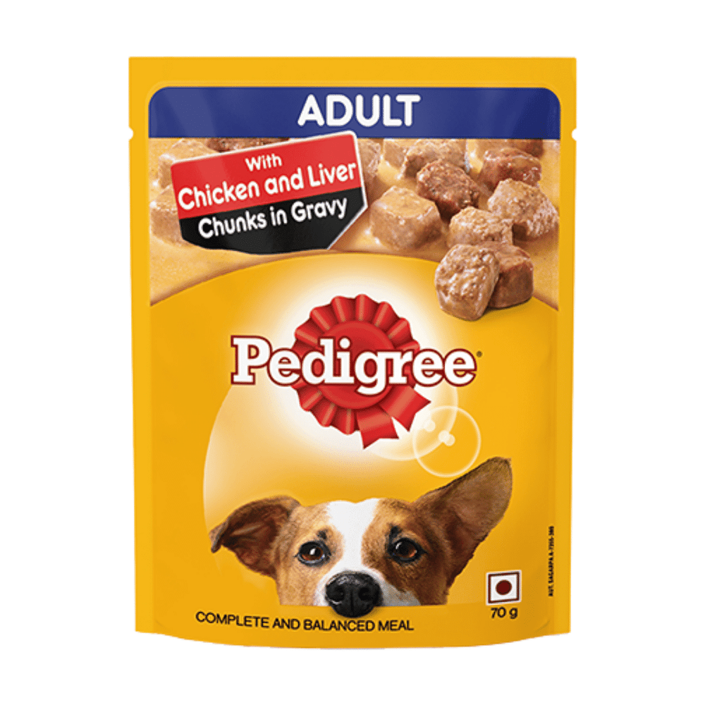 Pedigree Wet Dog Food ‐ Chicken & Liver Chunks (Adult) (Pack of 15 - 15 pouches x 70g)