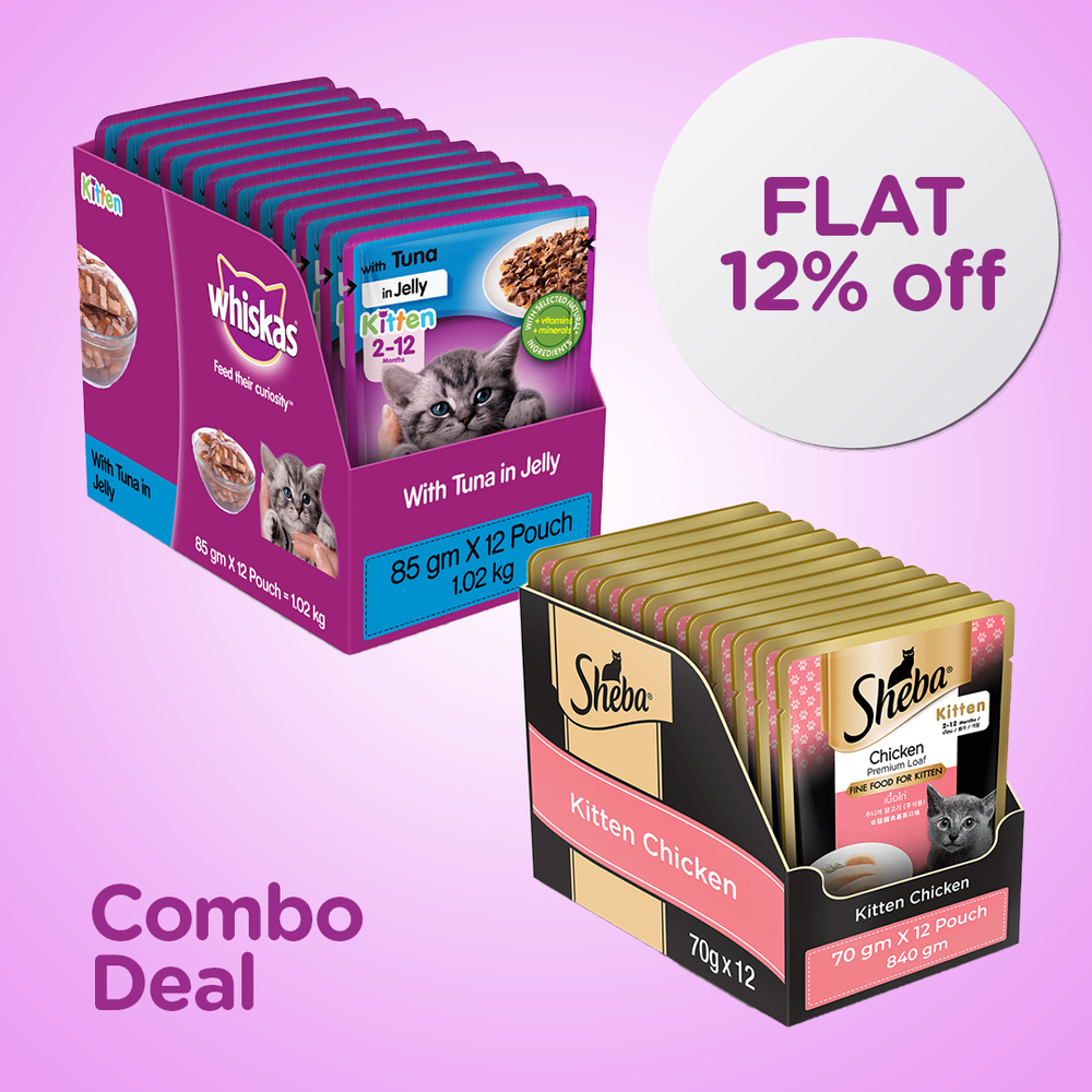 Kitten Wet Food Combo Deal - Whiskas Tuna in Jelly and Sheba Premium Food (Pack of 24)