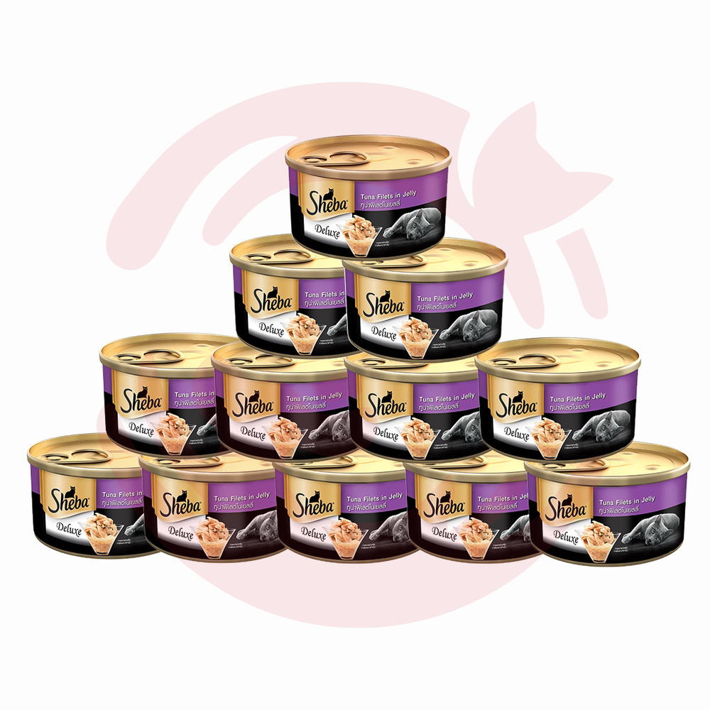 Sheba Wet Cat Food - Tuna White Meat in Jelly Can - Pack of 12 (85g x 12 cans)