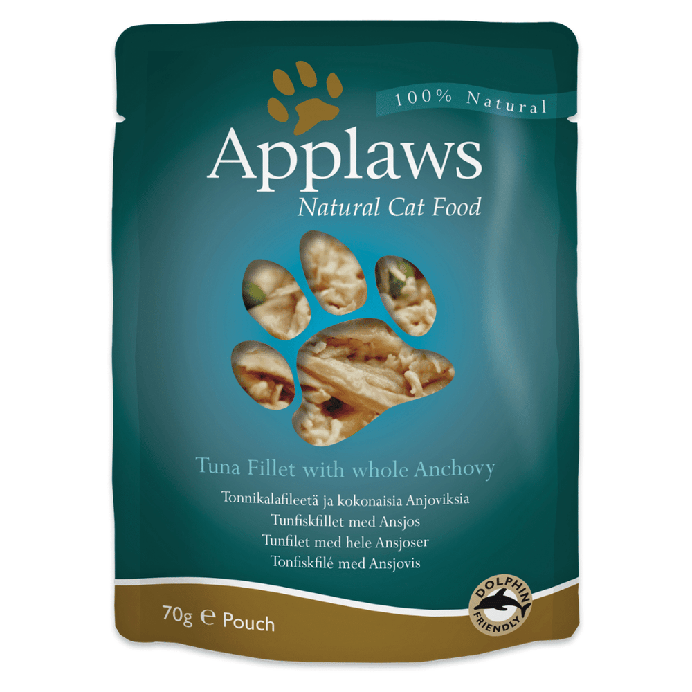 Applaws Adult Wet Cat Food - Tuna Fillet with Whole Anchovy (70g x 12 Pouches)
