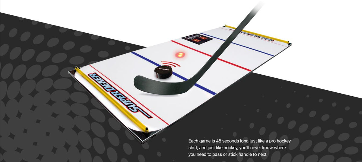 Our hockey stick handling training aid showing the ePuck going towards a LED light with sensor that deactivates when the puck goes over it.
