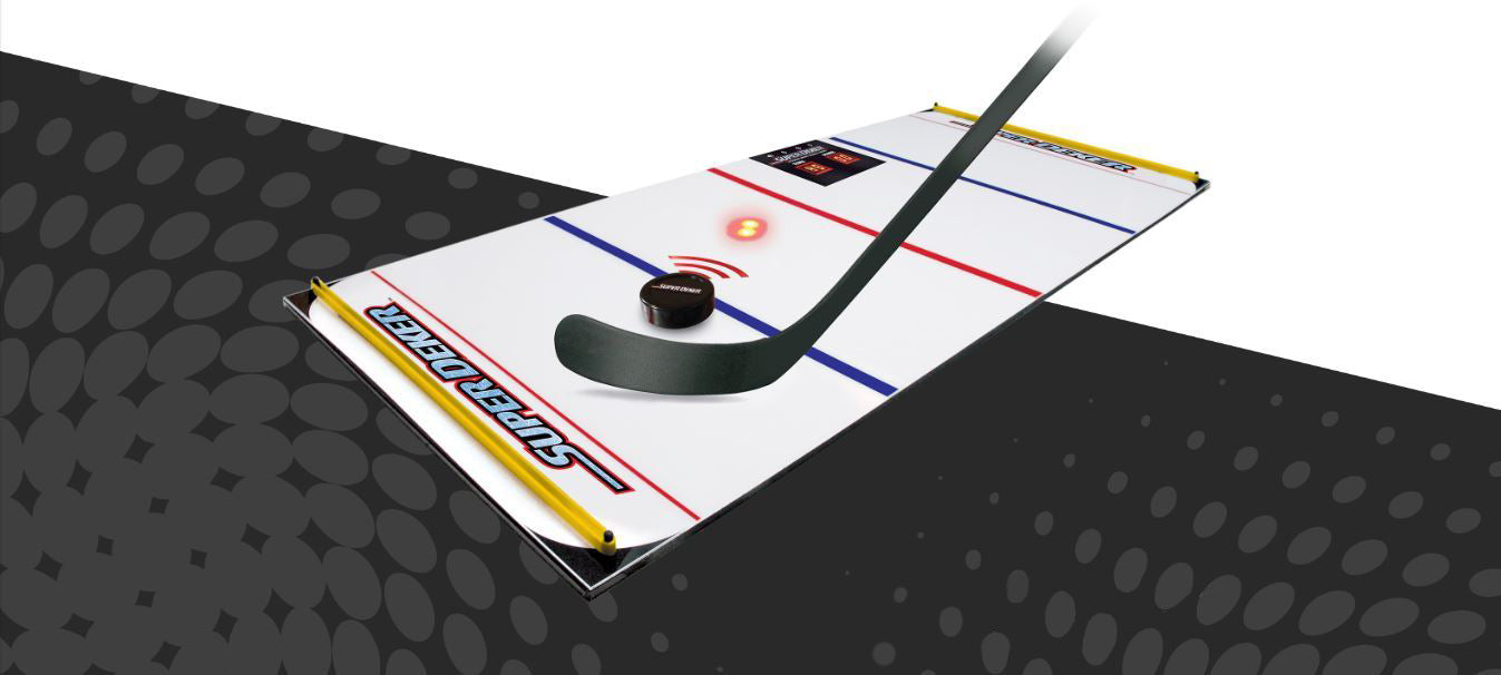 SuperDeker off ice hockey training board on a white and black background showing a hockey stick passing the ePuck towards a patent sensing light