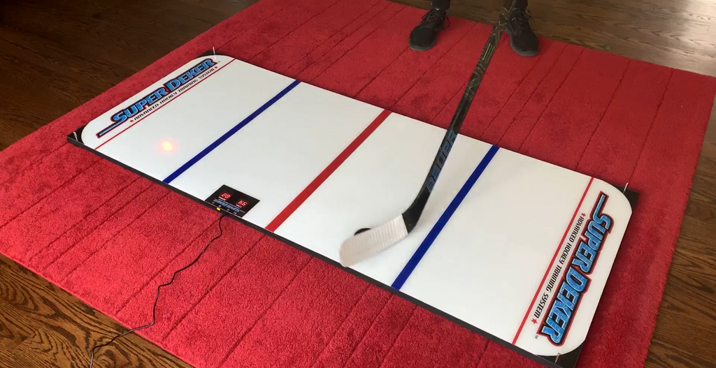The best stickhandling training equipment for advancing your skill is the SuperDeker off-ice trainer!