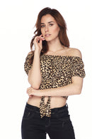 Leopard Print Sexy Off Shoulder Front Tie Cropped Top - Star Boutik LLC