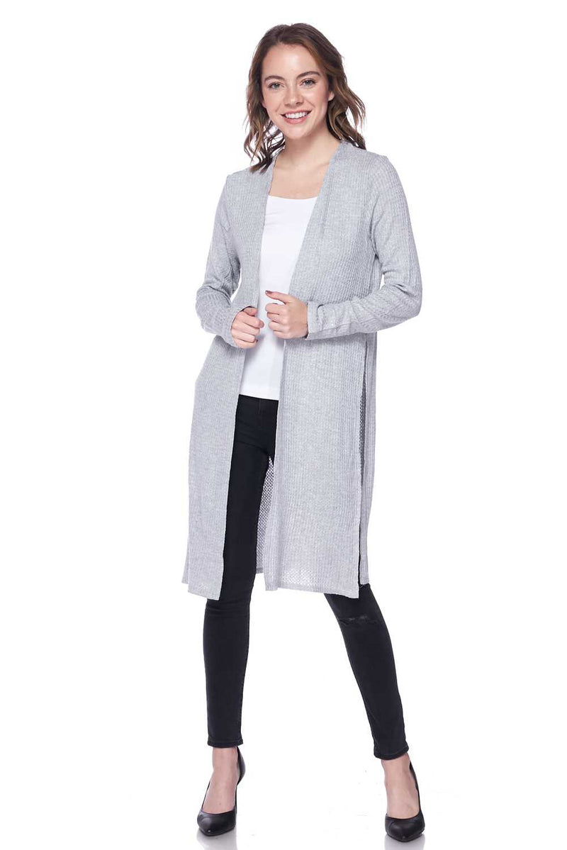 Open Front Side Vent Waffle Knit Duster Cardigan - Star Boutik LLC