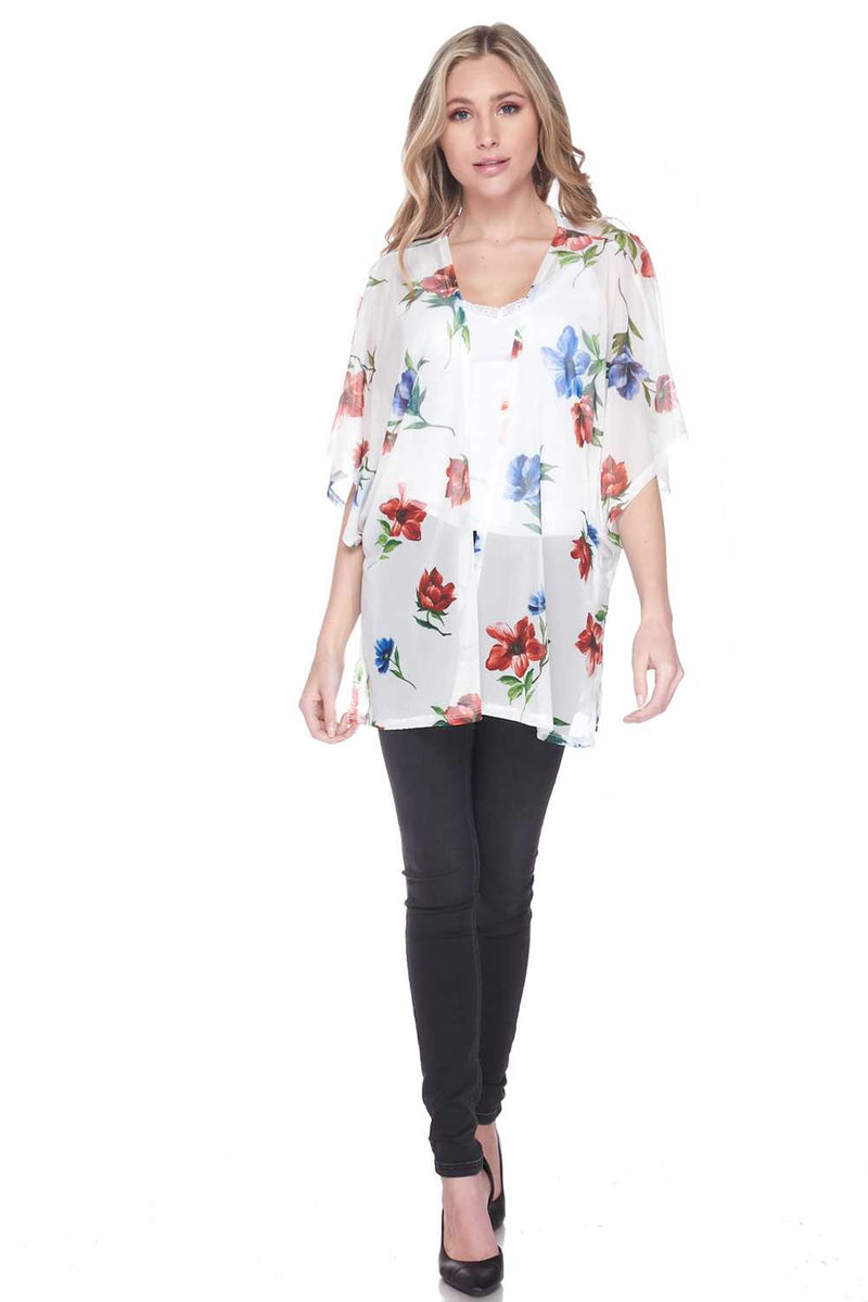 Gentile Windy Floral Light Open Front Cardigan - Star Boutik LLC