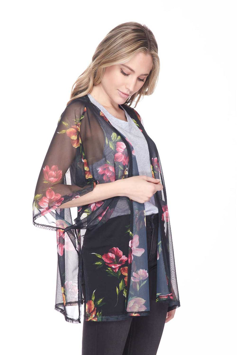 Gentle Windy Floral Light Weighted Open Front Cardigan - Star Boutik LLC