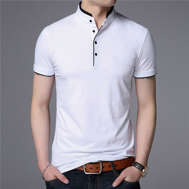 FuyBill Mandarin Collar Short Sleeve Cotton T-Shirt - Slim Fit - Star Boutik LLC