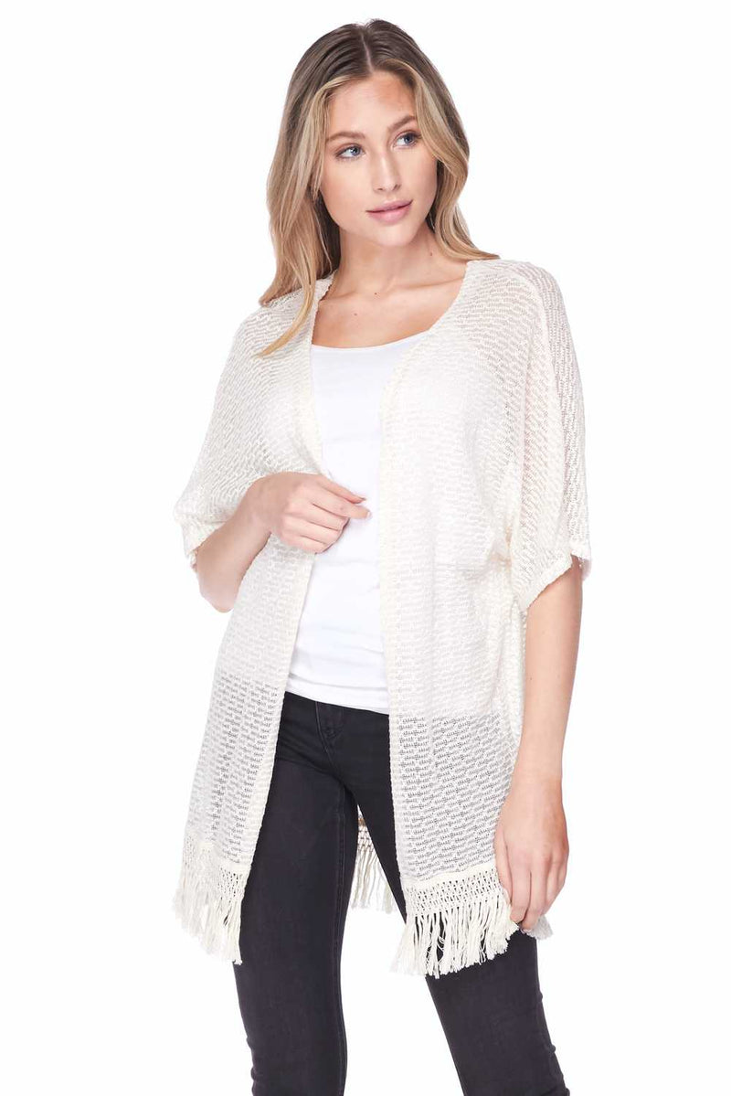 Fringed open front knit cardigan - Star Boutik LLC