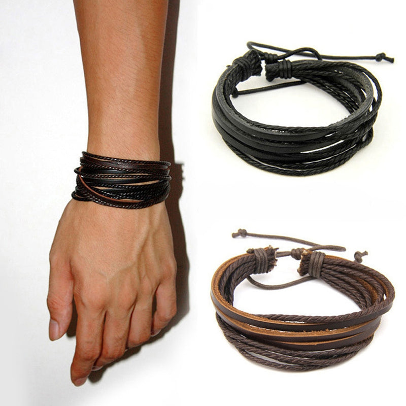 Woven Leather Charm Bracelet With Braided Rope - Star Boutik LLC