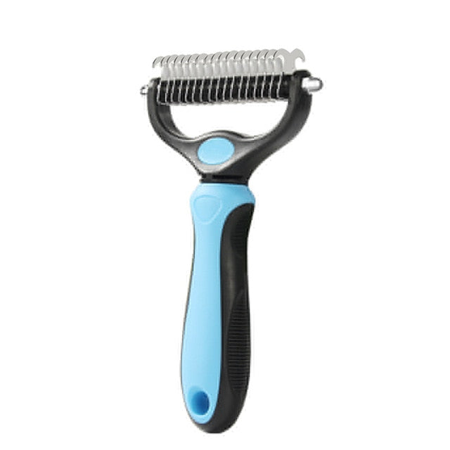 Double Sided Shedding and Dematting Undercoat Rake Pet Grooming Brush - Star Boutik LLC