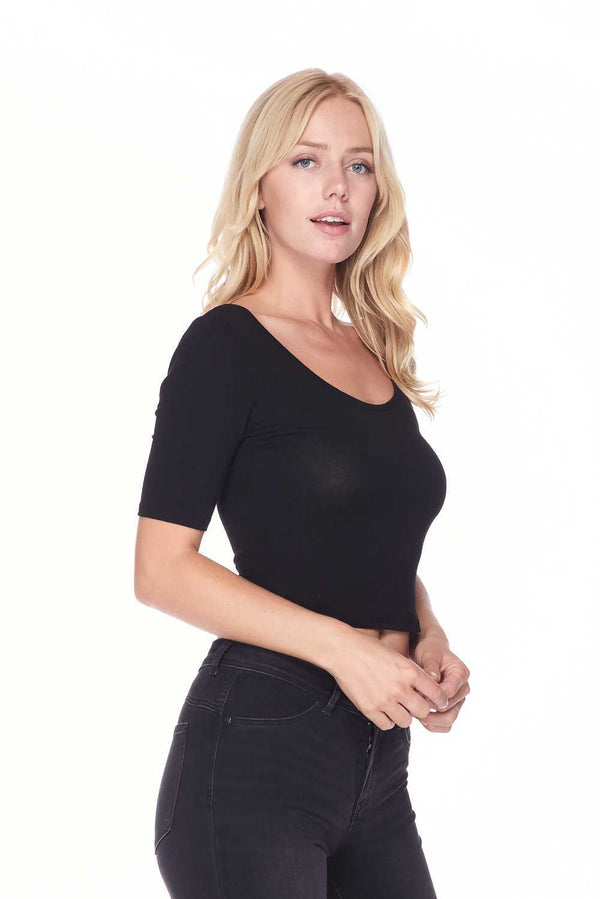 Solid Wide Round Neck Short Sleeve Cropped Top - Star Boutik LLC