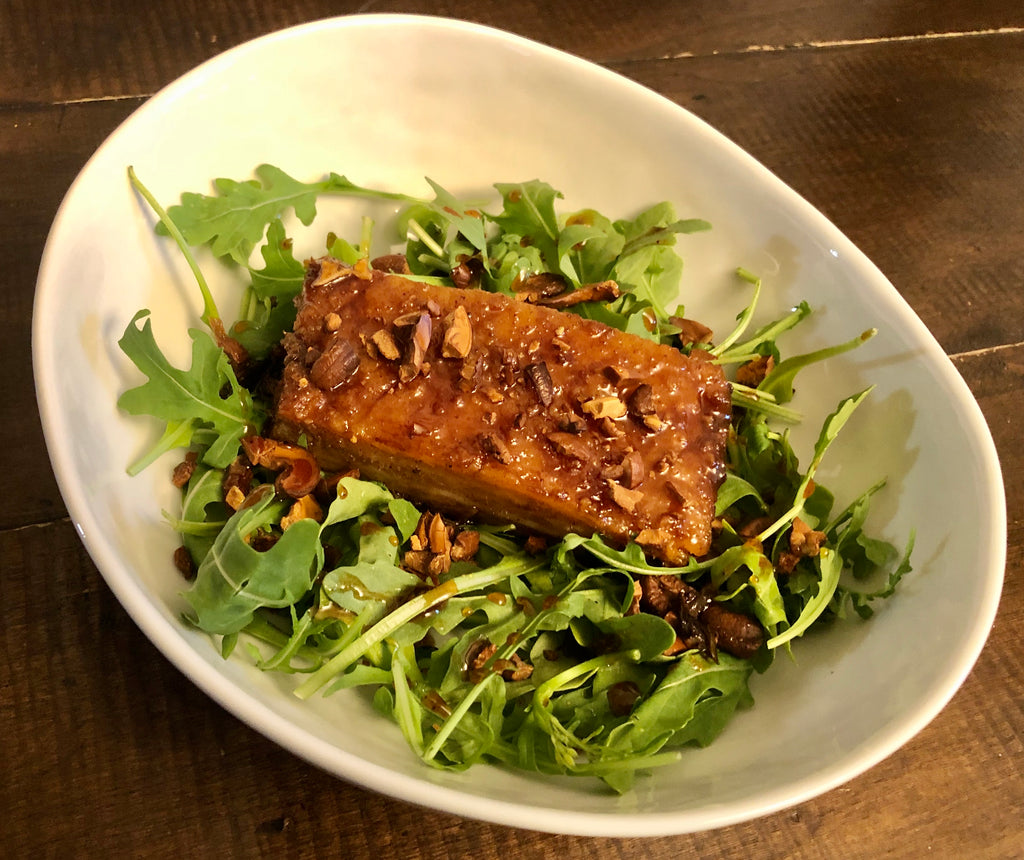 Crispy Pork Belly Arugula Salad