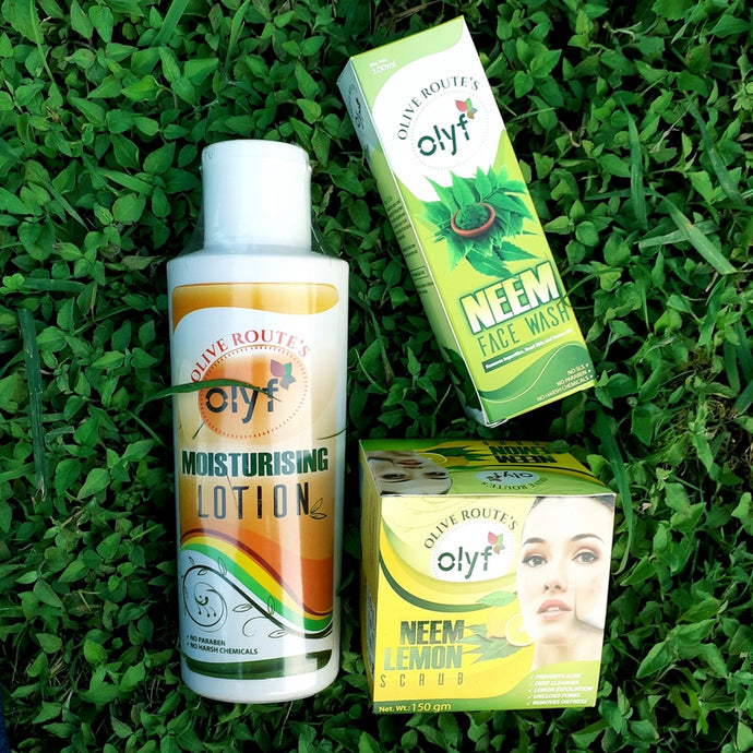 Olyf Moisturizing Lotion + Neem Face wash (free Neem & Lemon Face Scrub) - Olyf By Olive Route | Buy Natural, Vegan, Traditional Indian Products