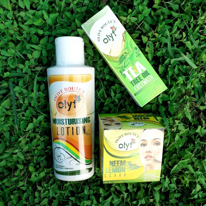 Olyf Moisturizing Lotion + Tea Tree Oil Face wash (free Neem & Lemon Face Scrub) - Olyf By Olive Route | Buy Natural, Vegan, Traditional Indian Products
