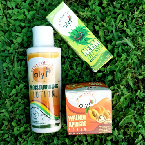 Olyf Moisturizing Lotion + Neem Face wash (free Walnut & Apricot Face Scrub) - Olyf By Olive Route | Buy Natural, Vegan, Traditional Indian Products