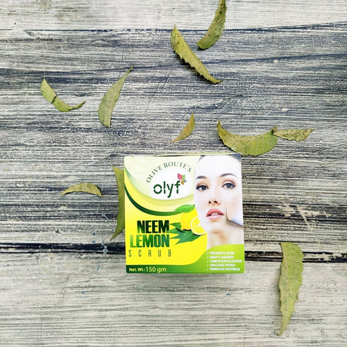 Olyf Face Scrub - Neem and Lemon, 150gm - Olyf By Olive Route | Buy Natural, Vegan, Traditional Indian Products