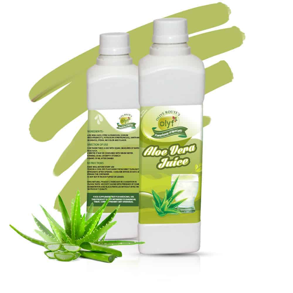 Olyf Herbal Combo- Aloe Vera and Karela, Cold Pressed - Pack of 2 (500ml each) - Olyf By Olive Route | Buy Natural, Vegan, Traditional Indian Products