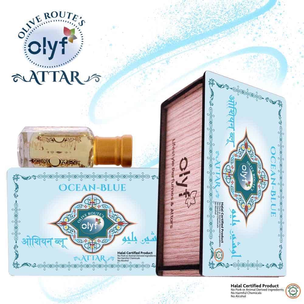 Olyf Ocean Blue Attar for Men, (Buy 1 Get 1 Free) - Olyf By Olive Route | Buy Natural, Vegan, Traditional Indian Products