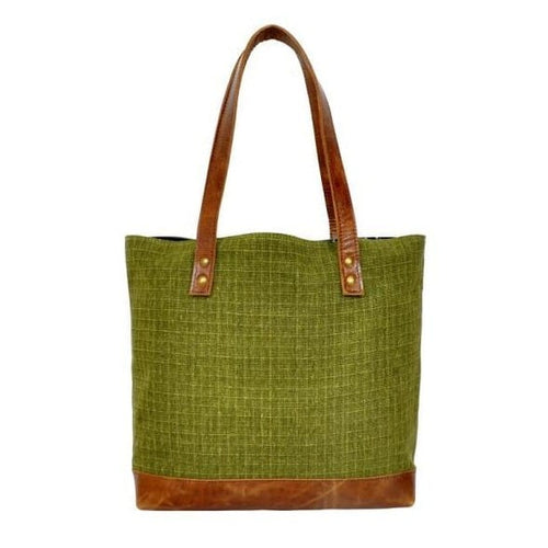 Olyf Green Tote Bag Canvas Crunch Leather - Olyf By Olive Route | Buy Natural, Vegan, Traditional Indian Products