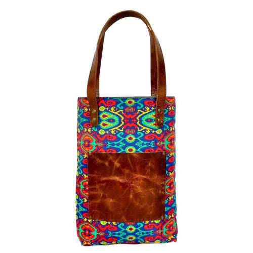 Olyf Multicolour Tote Bag canvas crunch leather - Olyf By Olive Route | Buy Natural, Vegan, Traditional Indian Products