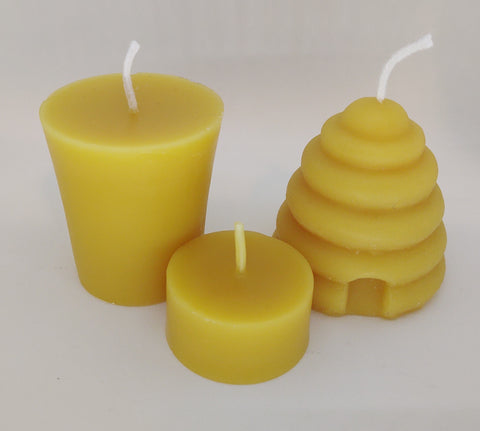 Bees Wax Candles Votives and Tea Lights