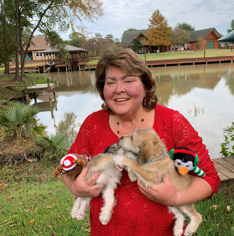 Artist Cindy Rae Fancher with Pups Reckless and Buddy