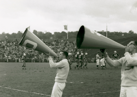 Cheerleaders with Bullhorn - antique picture