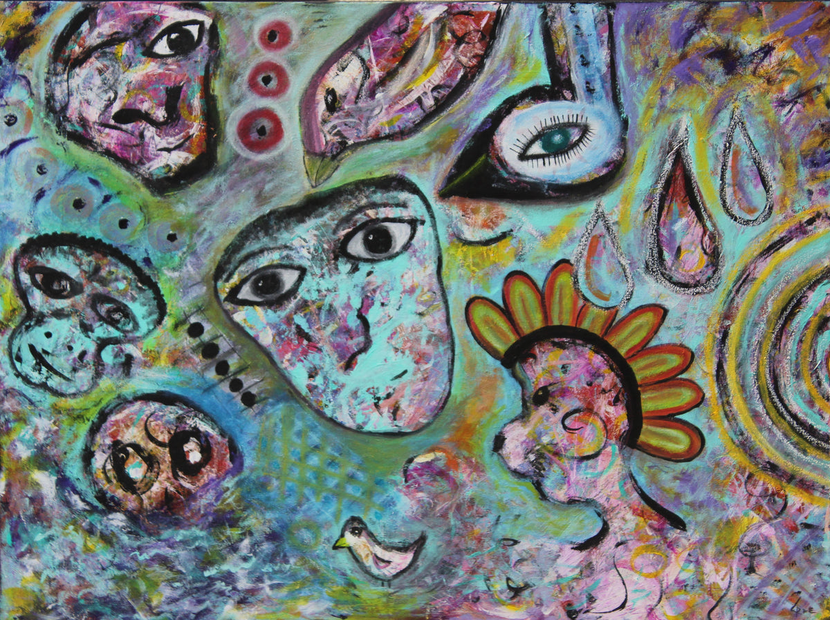 Cindy Rae Fancher Original Mixed Media with Acrylic and Oil Pastels. Tribal / Mystical Art. Brilliant Turquoise.