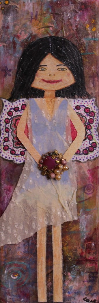 Angel; Mixed Media Girl Painting with Vintage Jewelry