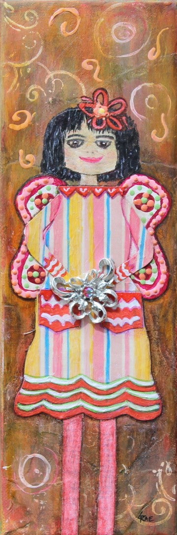 Hattie; Mixed Media Girl Painting with Vintage Jewelry