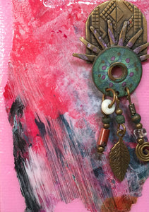 Indian Headdress; Small Mixed Media Painting with Jewelry