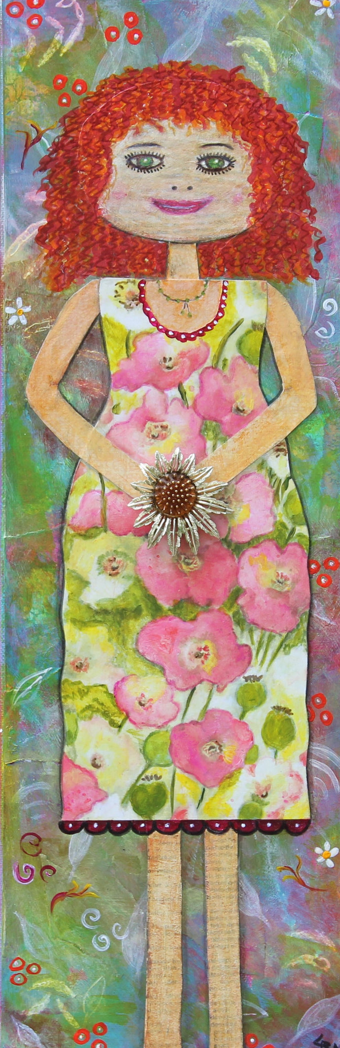 Mattie; Large Mixed Media Girl Painting with Vintage Jewelry
