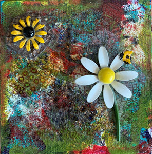 Summer in Provence; Small Painting with Enamel Jewelry Flowers