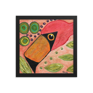Funky Flamingo Personalized Premium Luster Photo Paper Framed Poster