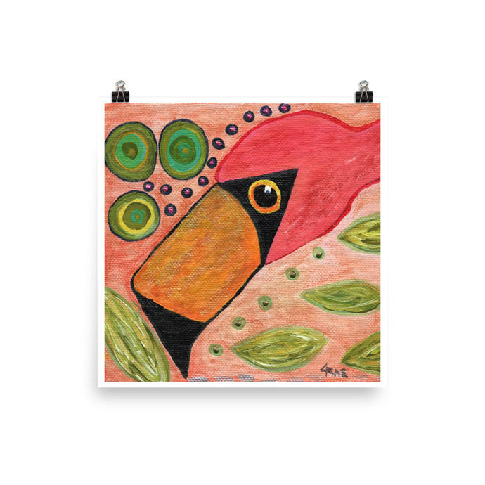 Funky Flamingo Personalized Premium Luster Photo Paper Poster