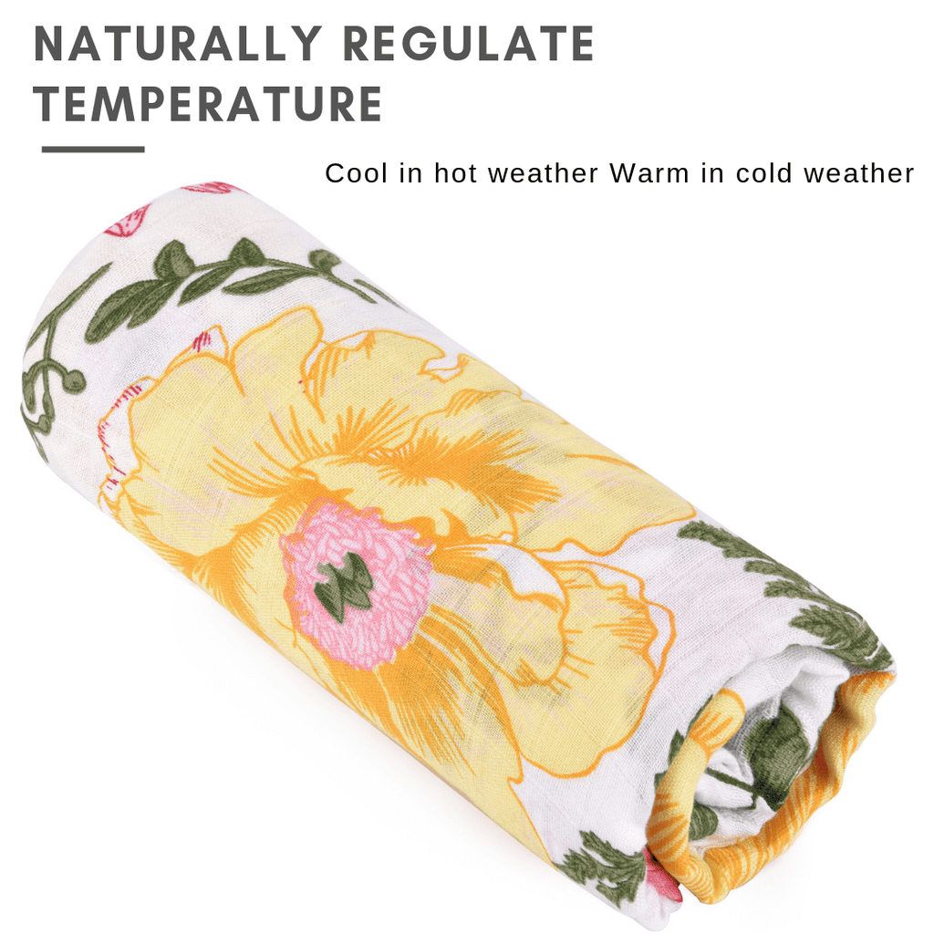 Kids & Babies Bamboo Floral Swaddle Blanket for Baby